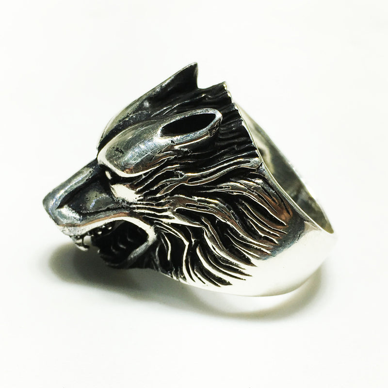 Antique-Finish Wolf Head Ring (Silver) - Popular Jewelry