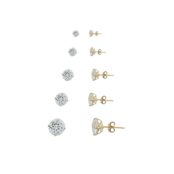 Round Cut Solitaire Stud Earrings (14K)