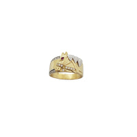 Two Tone Horse Band Ring (14K)