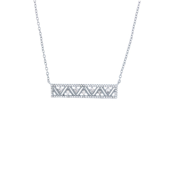 Zigzag Bar Necklace (Silver)