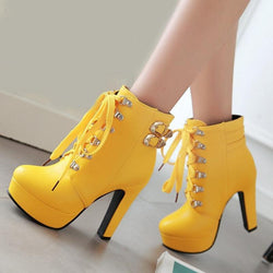 Round Toe High Heels Lace Up Double Buckle Platform Short Martin Ankle Boots Shoes