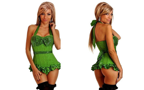 Lace Push Up Bustier Corset with G-string Pink, Purple  or Green - Enchanted Mistress
