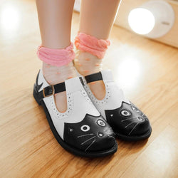 Cat White Black Round Toe Buckle Strap Cut-out Mary Jane Shoes