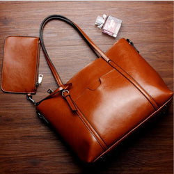 Luxury Oil Wax Retro Large Leather Shoulder Bag