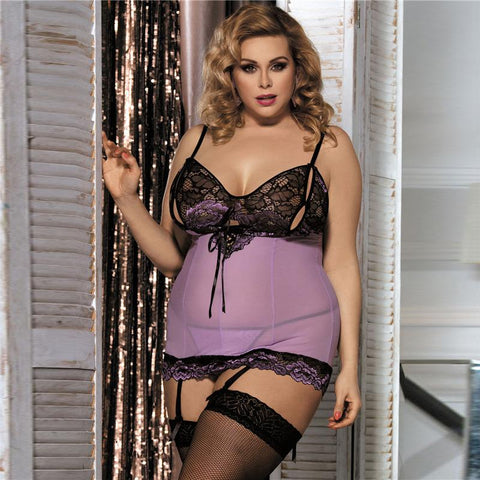 See Through Romantic Baby Doll With G-String Plus Size - Enchanted Mistress