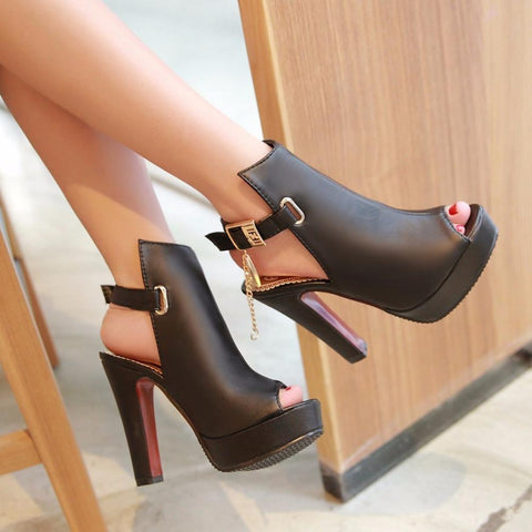 High Heels Peep Toe Platform Pump