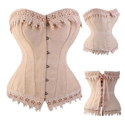 Lace Up Embroidery Sexy Boned Satin Corset - Enchanted Mistress
