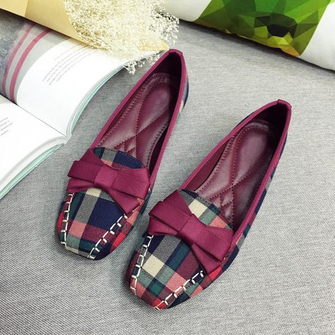 England Style Gingham Bow-Ties Loafers Shoe