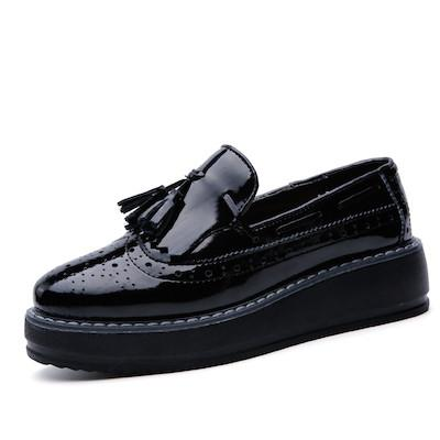 Platform Oxford Patent Leather Tassel Slip On Loafers - Enchanted Mistress