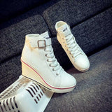 High Top Buckle Fashion Wedge Canvas Shoes Boots Heels - Enchanted Mistress