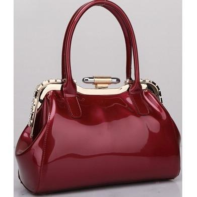 Elegant Candy Color Patent Leather Handbag - Enchanted Mistress