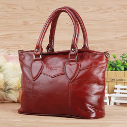 Genuine Leather Top Handle Tote Handbag Purse