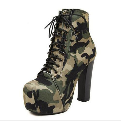 Women Camouflage Lace Up Platform Ankle Boots - Enchanted Mistress
