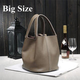 Genuine Leather Two Handle Bucket Tote Bag Purse - Enchanted Mistress