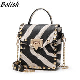 Big Cat Top-handle Bag Fashion Lock Chain Shoulder Bag - Enchanted Mistress