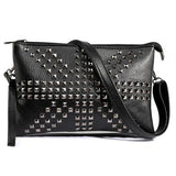 Rivet Stud Zipper Closure Flap Shape Shoulder Hand Bag - Enchanted Mistress
