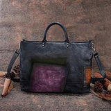 Hand Painted Top Handle Genuine Leather Tote