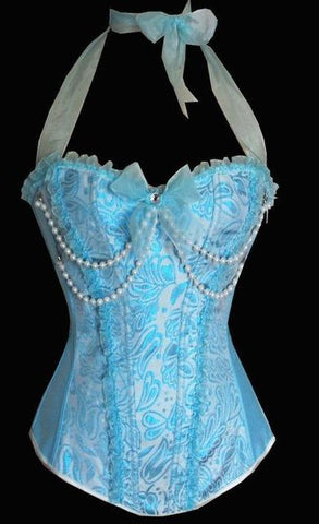 Vintage Corset Bustier and Thong Set In Pink or Blue - Enchanted Mistress