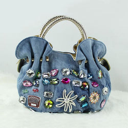 Vintage Style Denim Bling Top Handle Hobo Handbag Purse