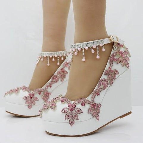 Pink Rhinestone Round Toe Wedge Platform Pumps Shoes - Enchanted Mistress