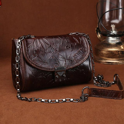 Oil Wax Small Vintage Style Embossed Genuine Leather Crossbody Shoulder Bag