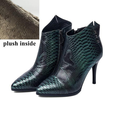 Genuine Leather Snake Texture High Heels Pointed Toe Ankle Boot - Enchanted Mistress