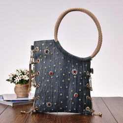 Rhinestone Rivets Denim Women Designer Tote Handbag Purse