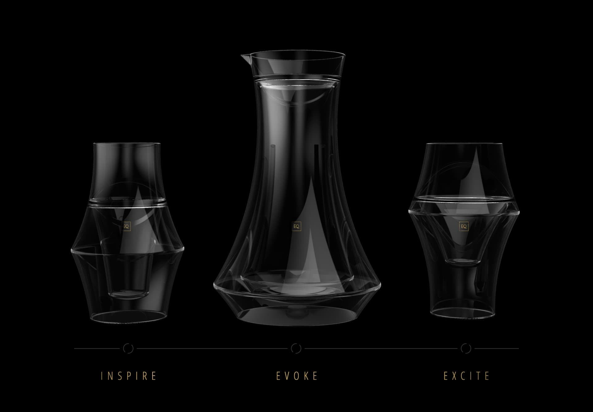 Excite Glass, Inspire Glass, and Evoke Carafe