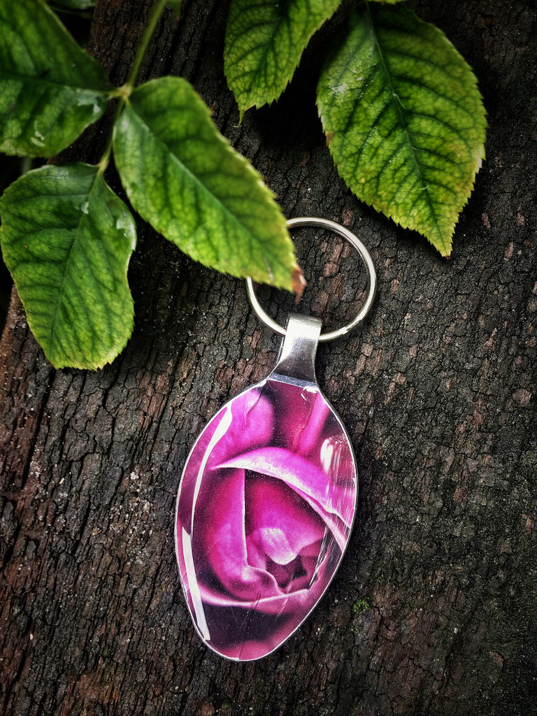 Pink Rose Spoon Keychain