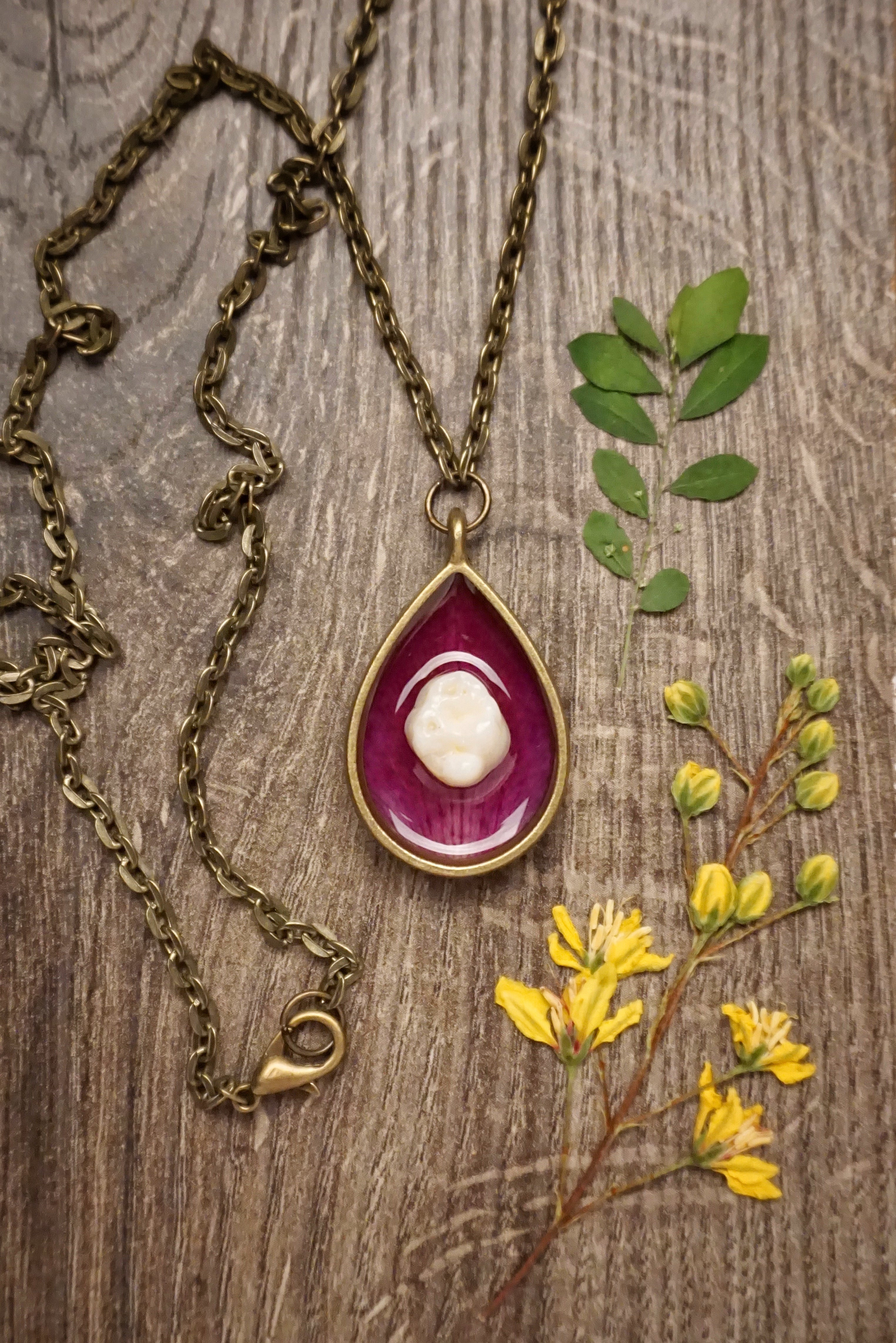 Human Tooth on Purple Dendrobium Orchid Teardrop Necklace
