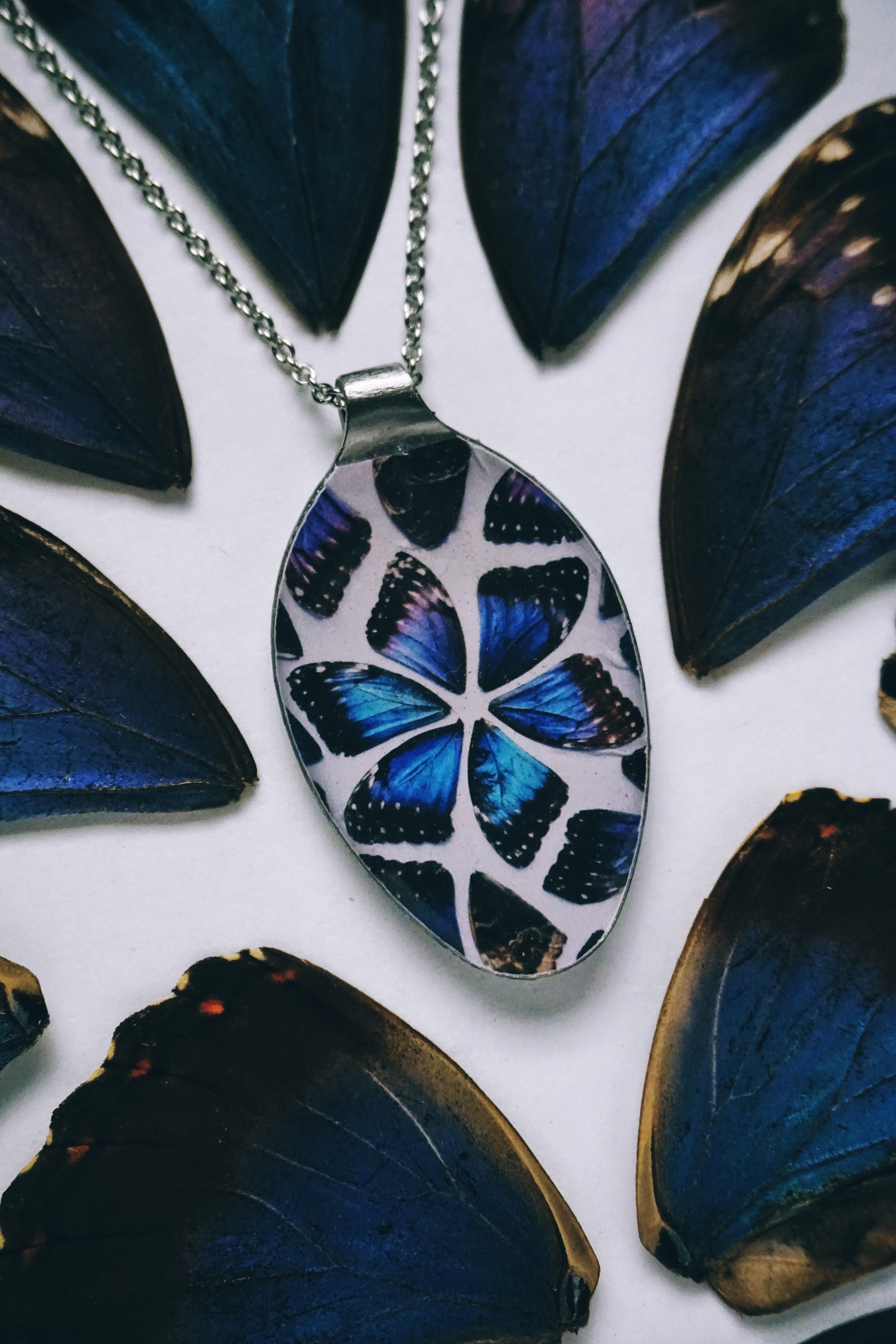 Morpho Butterfly Wing Kaliedescope Flat Lay Spoon Keychain or Necklace