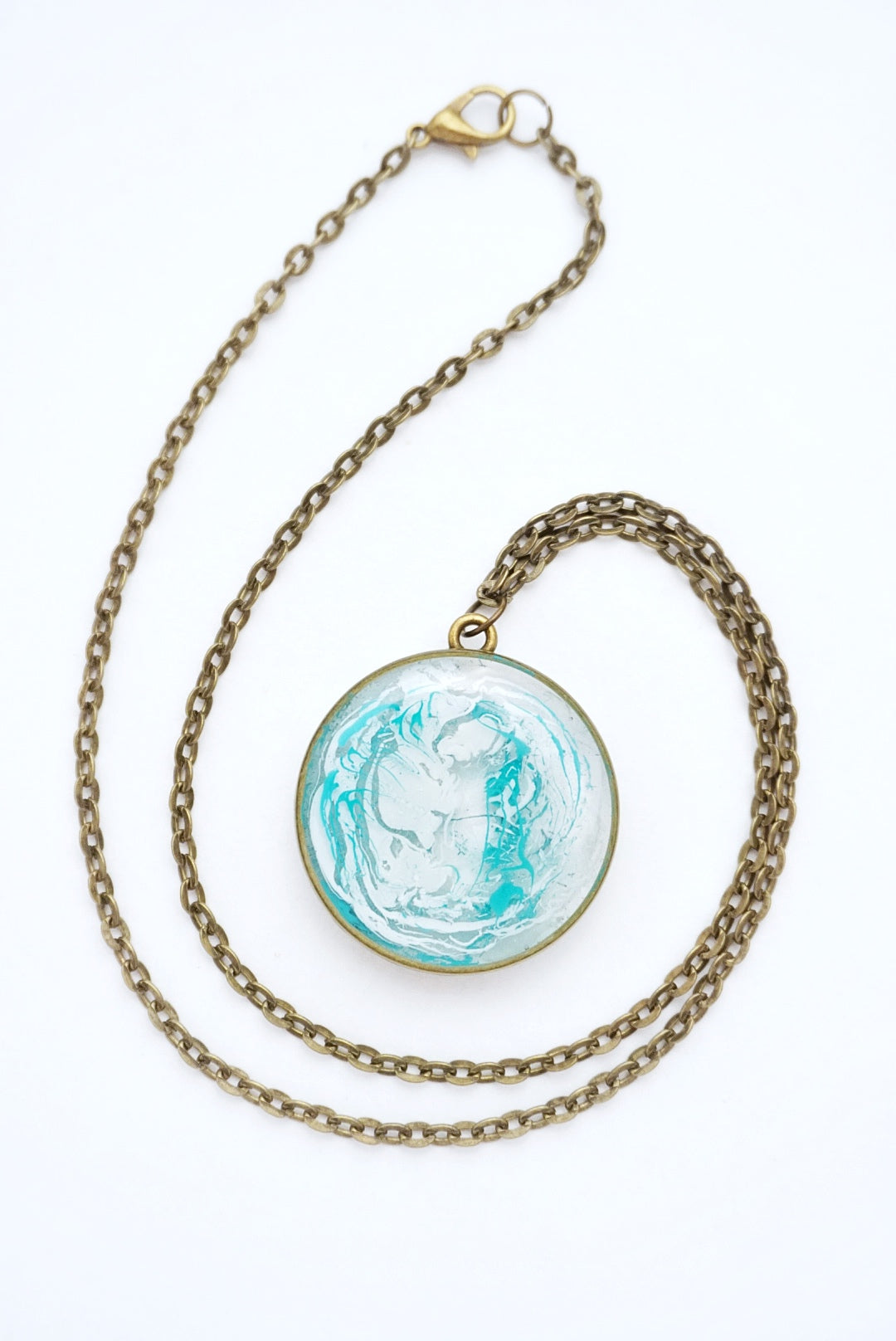 Abstract Blue & White Paint Necklace
