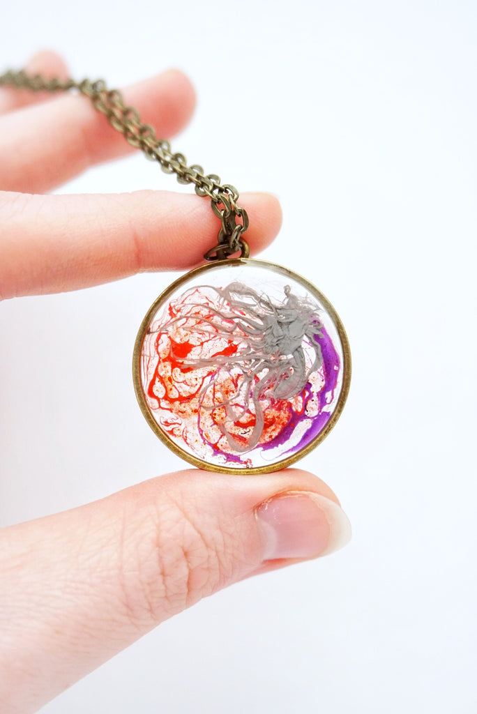 Abstract Purple, Red, & Grey Paint Necklace