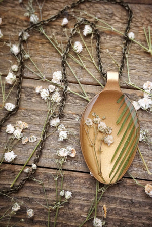 Baby's Breath & Grass On Gold Spoon Necklace
