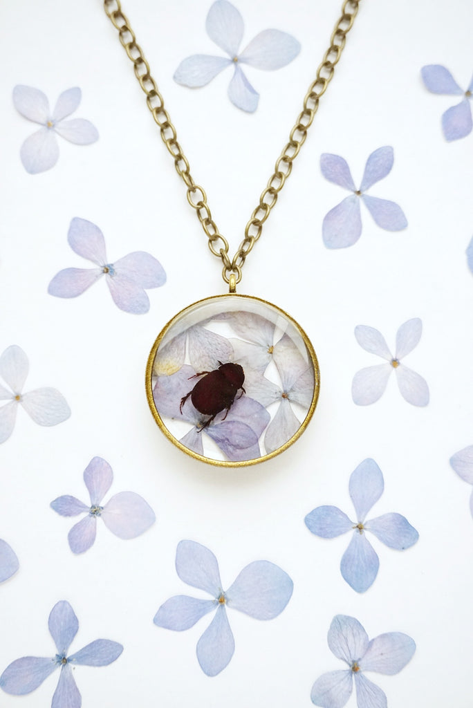 Beetle on Blue Hydrangea Flower Collage Necklace