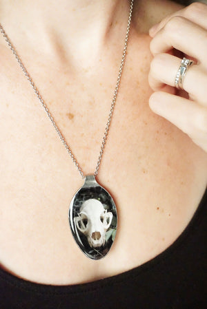 Bobcat Skull Spoon Keychain or Necklace
