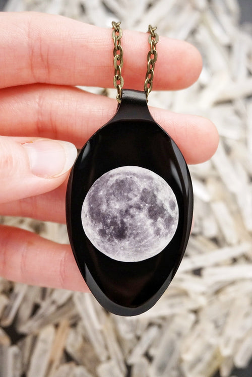 3D Moon on Black Spoon Necklace