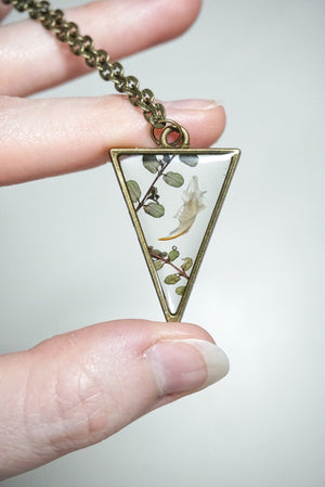 Mouse Jaw & Vines Triangle Necklace