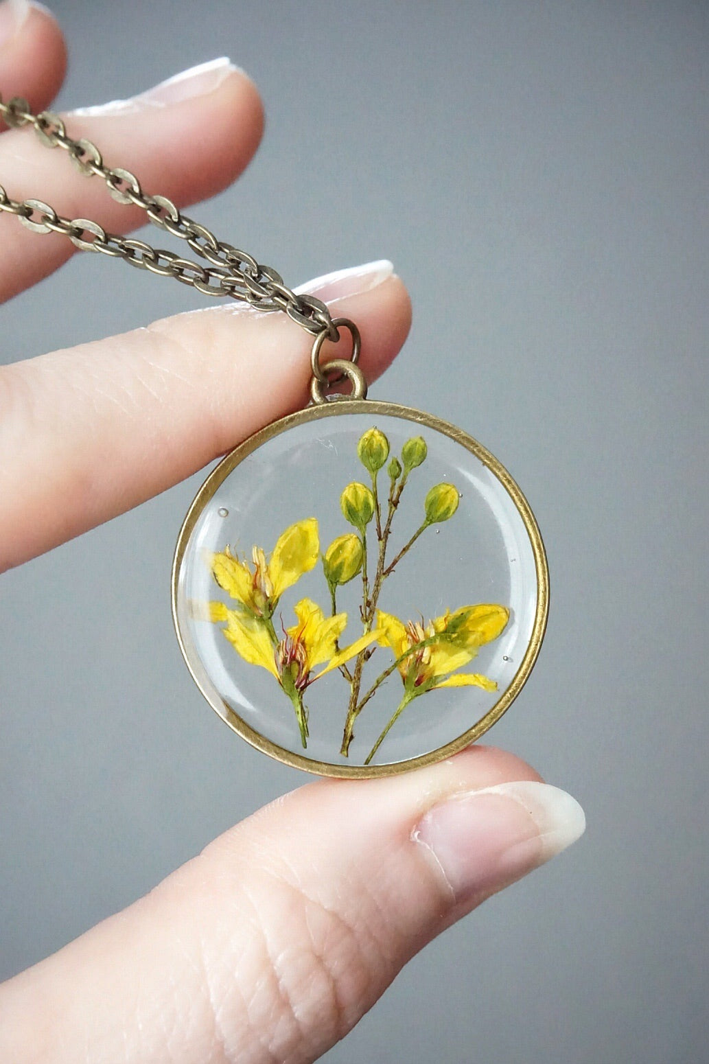 Yellow Flower Blossom Circle Necklace