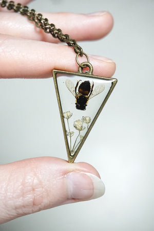 Bee On Babies Breath Triangle Necklace