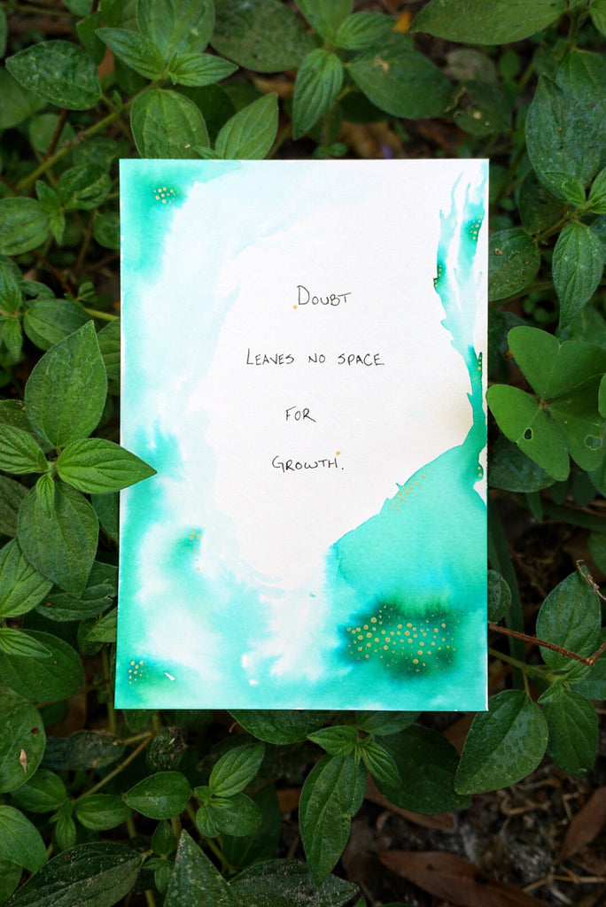Green Watercolor Motivational Quote Card
