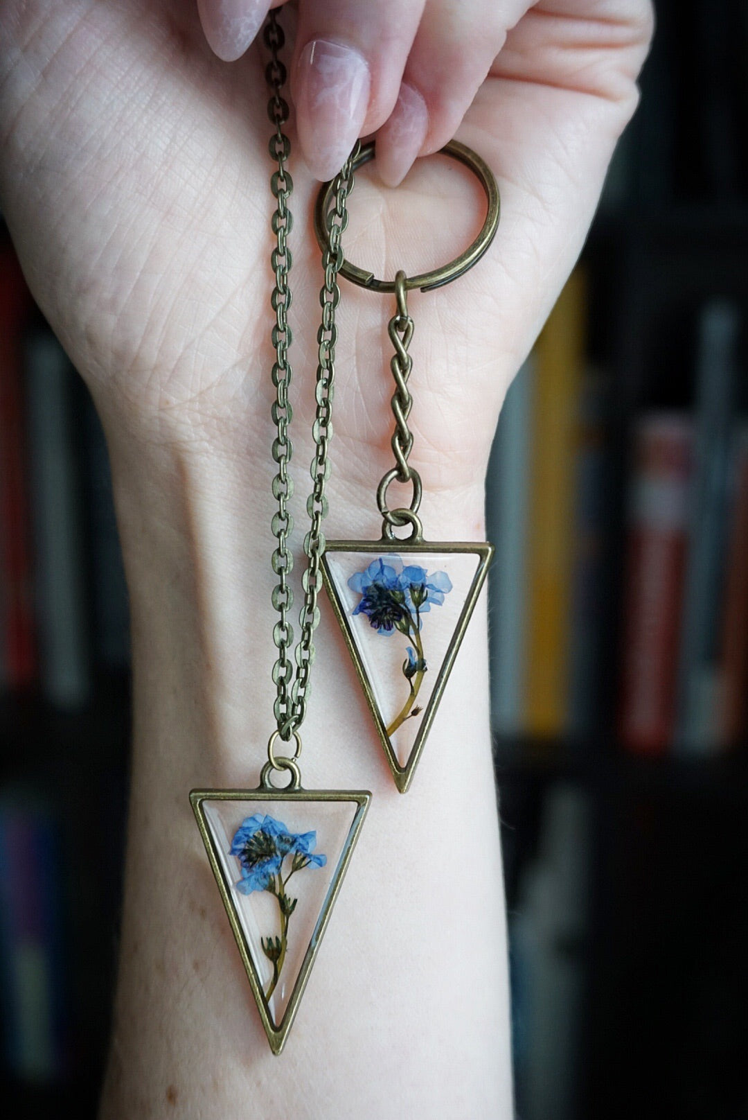 Forget Me Not Triangle Necklace or Key Chain