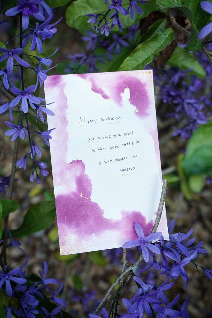 Purple Watercolor Motivational Quote Card