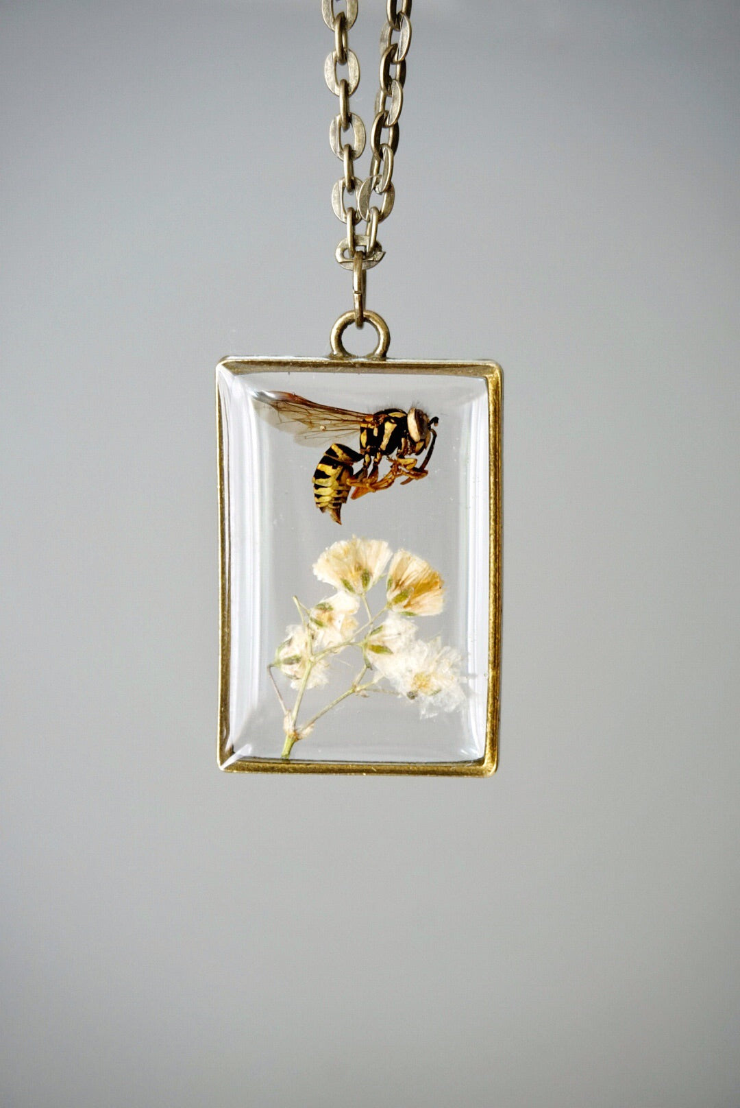 Wasp Over Baby's Breath Rectangle Necklace