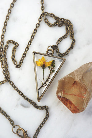 Mini Yellow Blossom Triangle Necklace