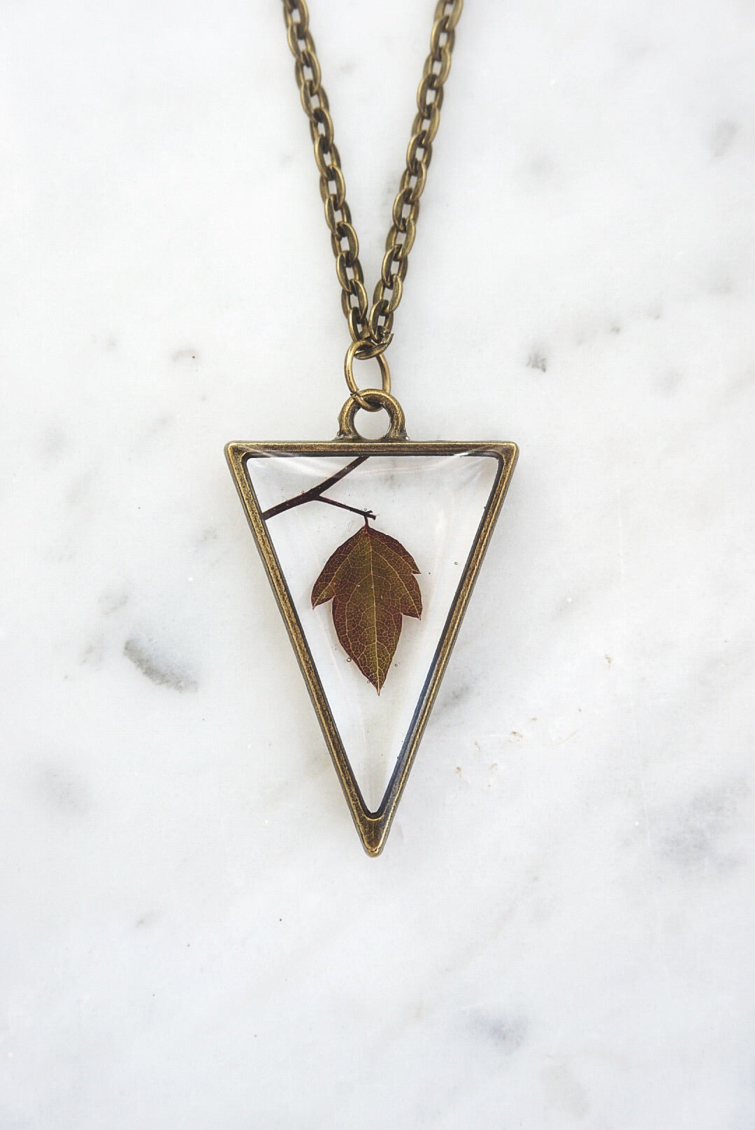 Falls Last Leaf Triangle Necklace