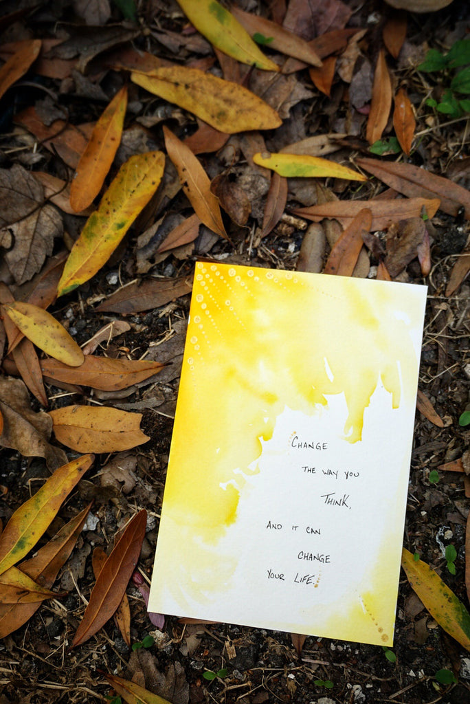 Yellow Watercolor Motivational Quote Card