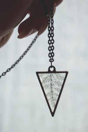 Leafs Like a Feather Triangle Necklace