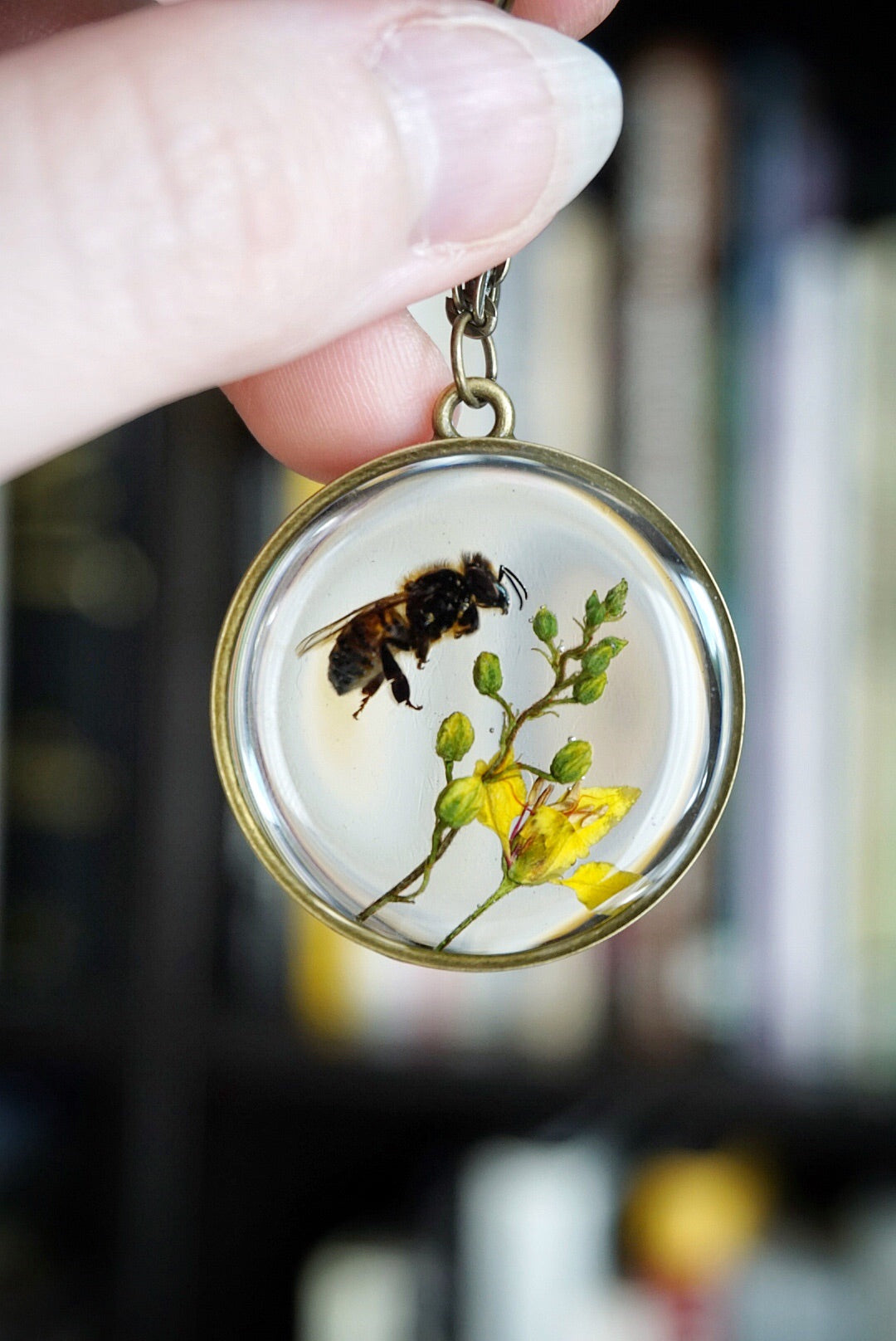 Bee On Yellow Flowers Circle Necklace