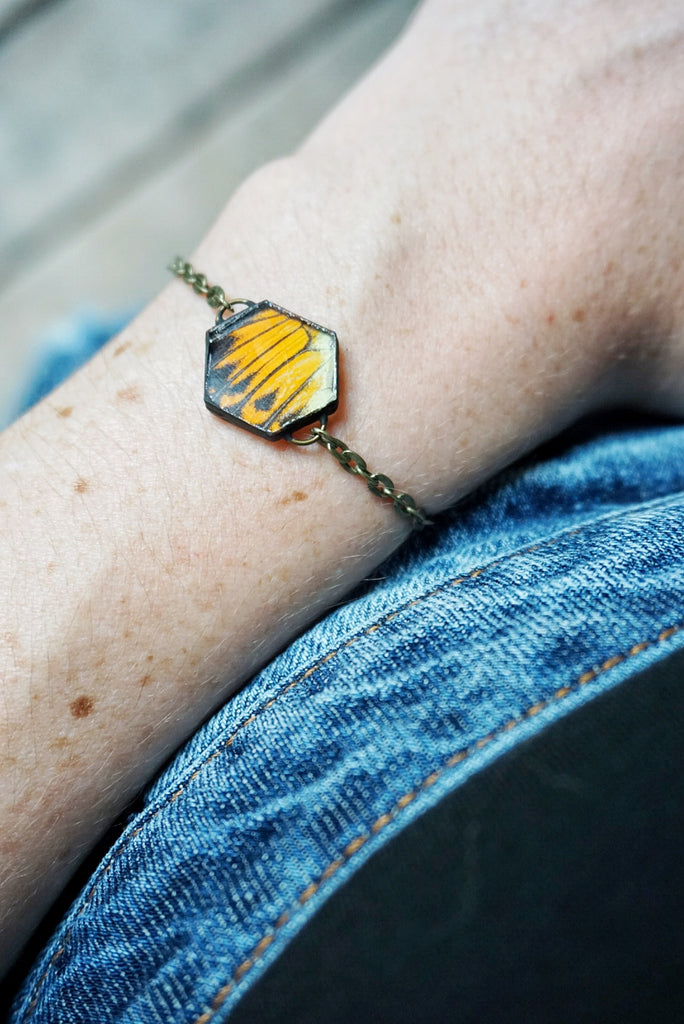 H. Glaucippe Butterfly Wing Hexagon Bracelet